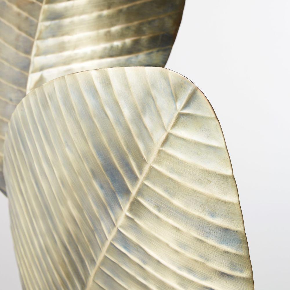 Lampadaire feuilles en métal argenté et marbre blanc H174