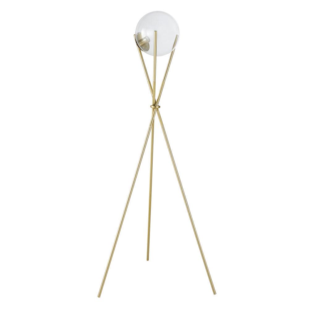Lampadaire globe en verre et métal doré H152