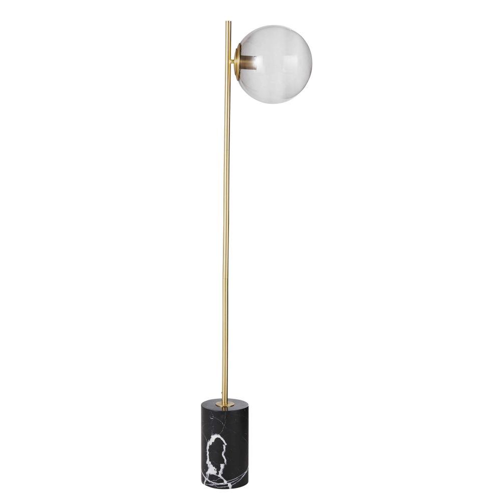 Lampadaire globe en verre et métal noir et doré H145