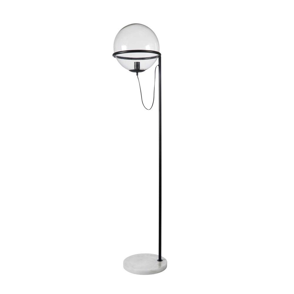 Lampadaire globe en verre, marbre blanc et métal noir H163