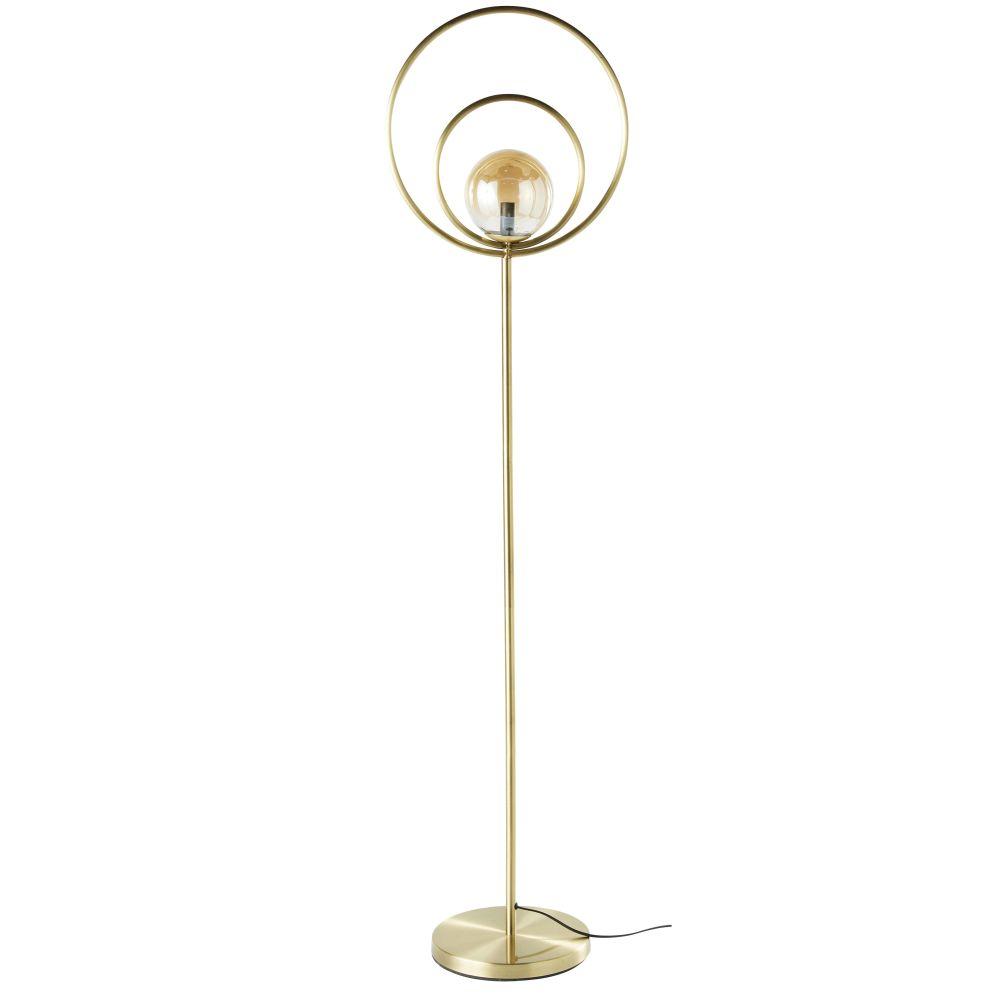 Lampadaire globe en verre teinté ambré et métal doré H162