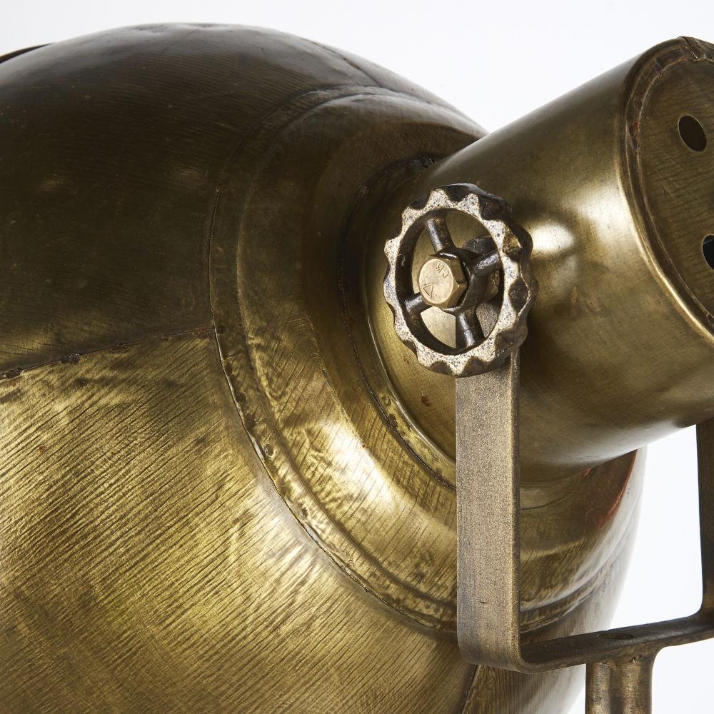 Lampadaire indus réglable en métal doré vieilli