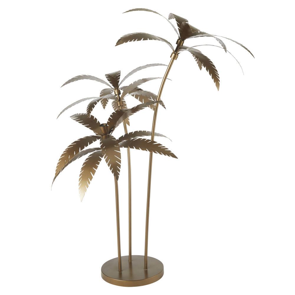 Lampadaire Palmiers En Métal Doré
