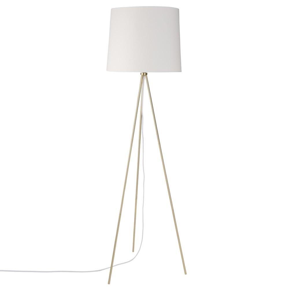 Lampadaire trépied en métal doré abat-jour en coton blanc