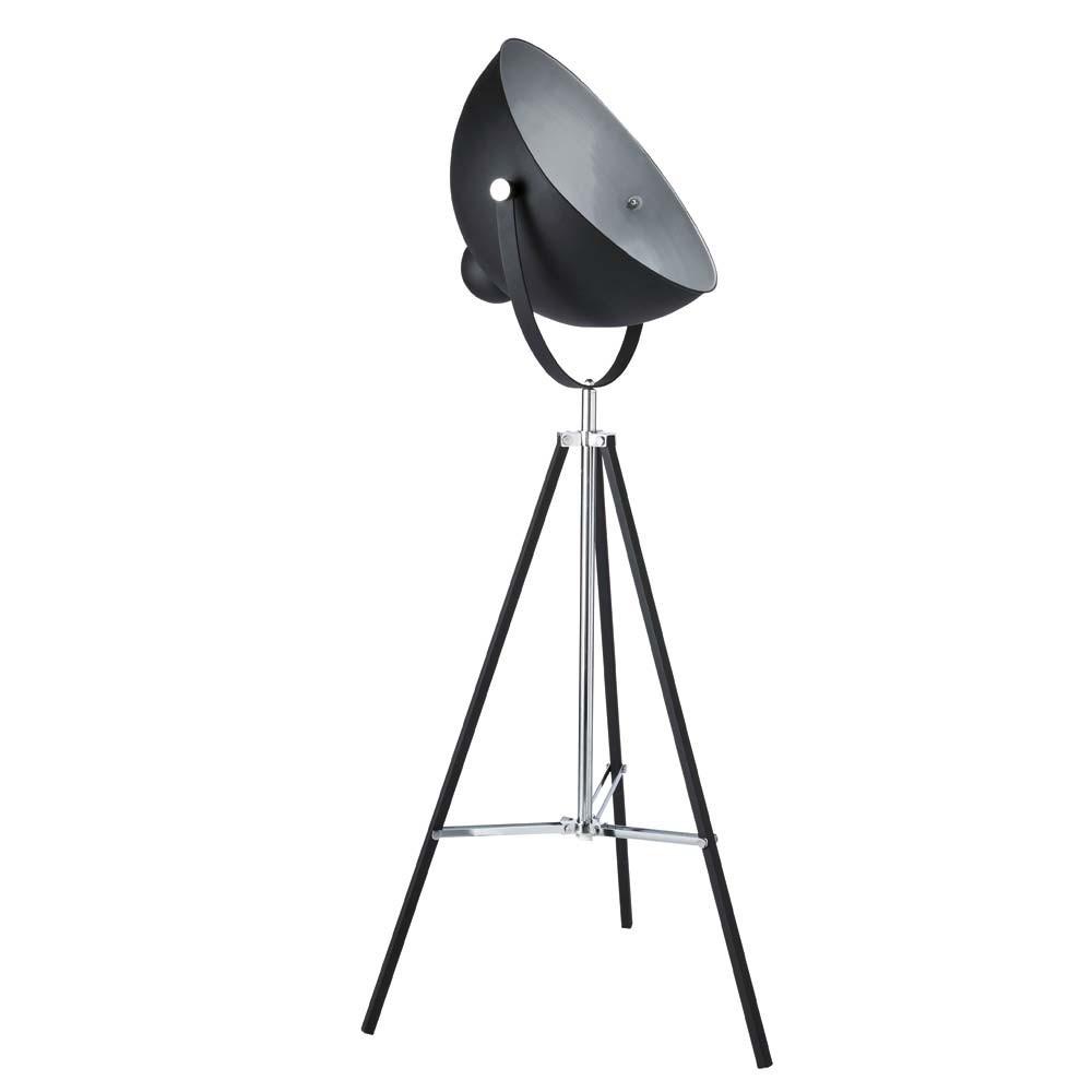 Lampadaire trépied en métal noir H 145 cm