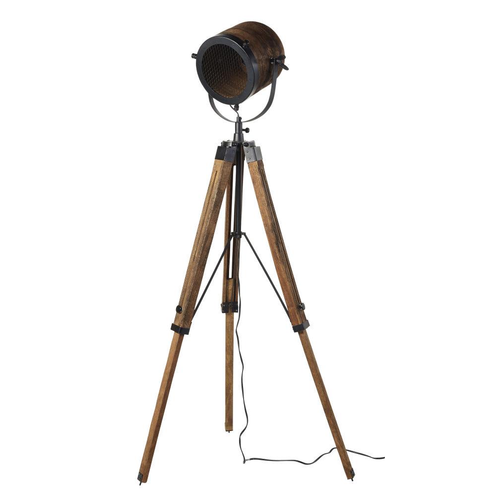 Lampadaire trépied projecteur en métal et manguier H162