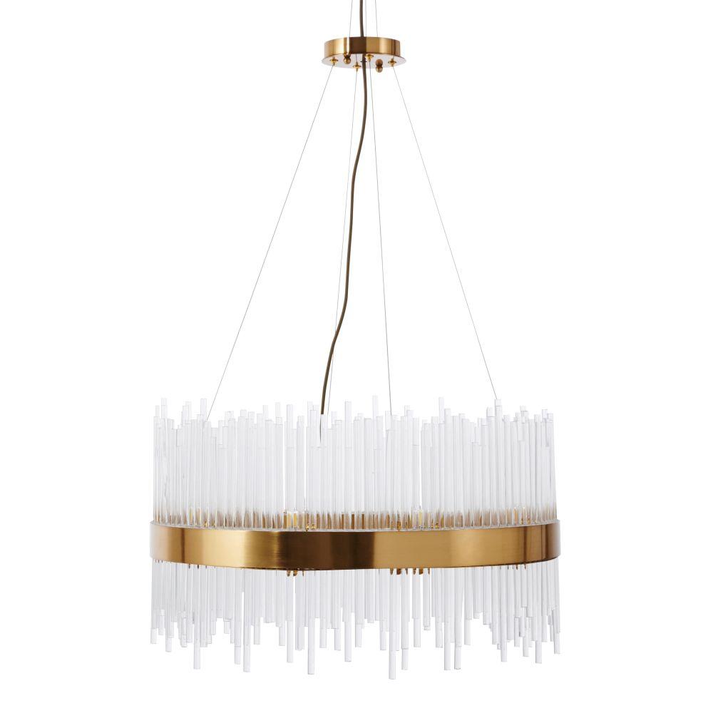 Lámpara de araña de metal dorado y tubos de cristal