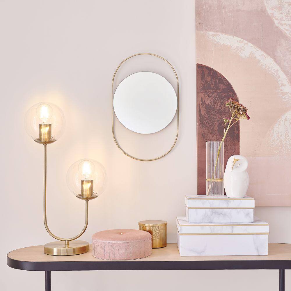 Lampe 2 globes en verre et métal doré