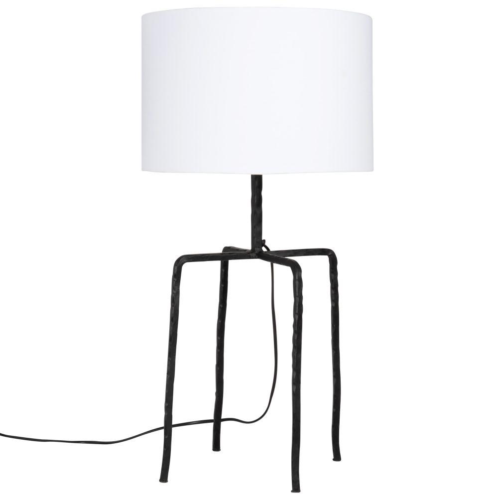 Lampe 4 pieds en fonte noire et abat-jour en coton blanc