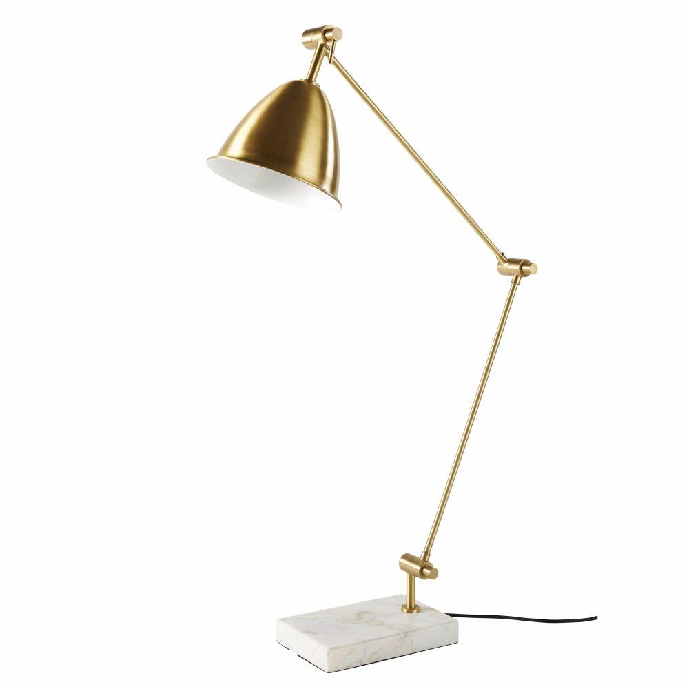 Lampe articulée en métal doré et marbre blanc