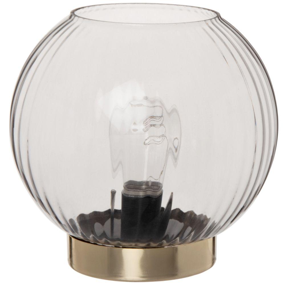 Lampe boule en verre strié teinté bleu gris et métal doré