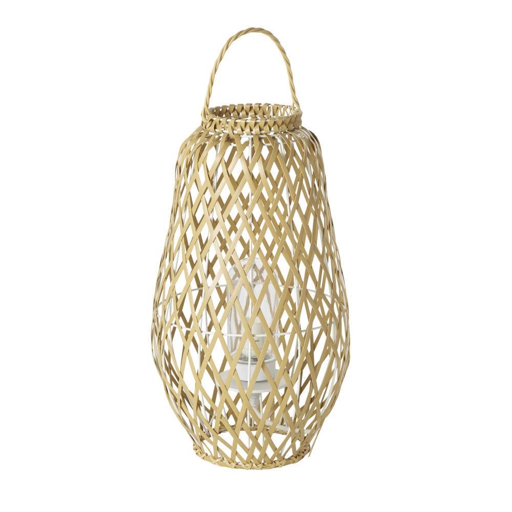 Lampe d'extérieur lanterne tressée beige