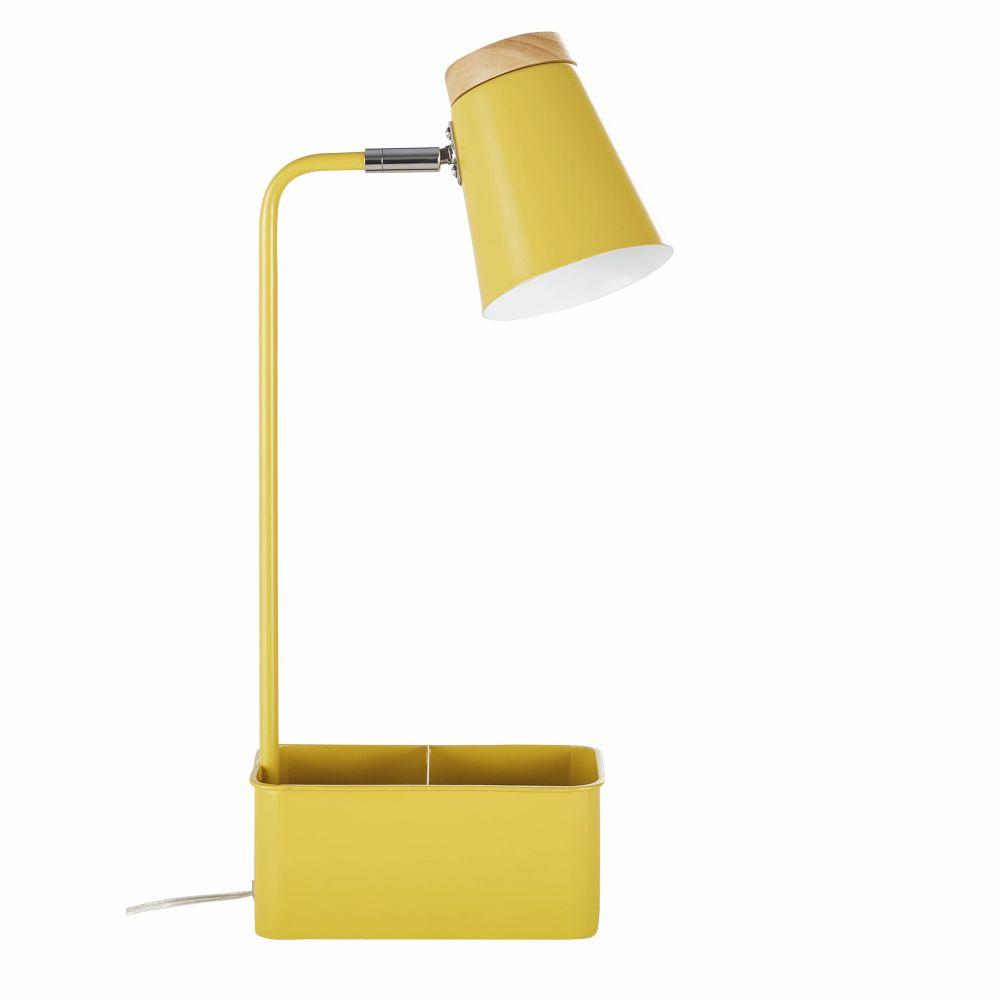Lampe De Bureau Avec Porte-crayons Compartiments En Métal Jaune Et Hévéa