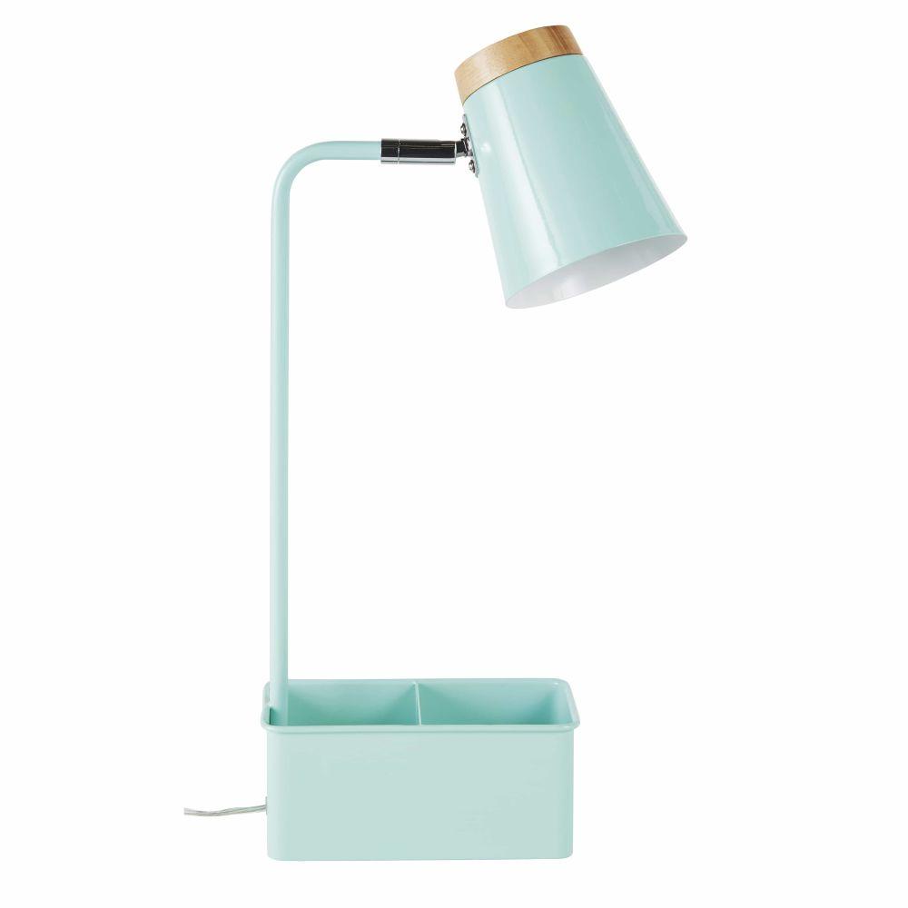 Lampe de bureau avec porte-crayons en métal bleu vert et hévéa