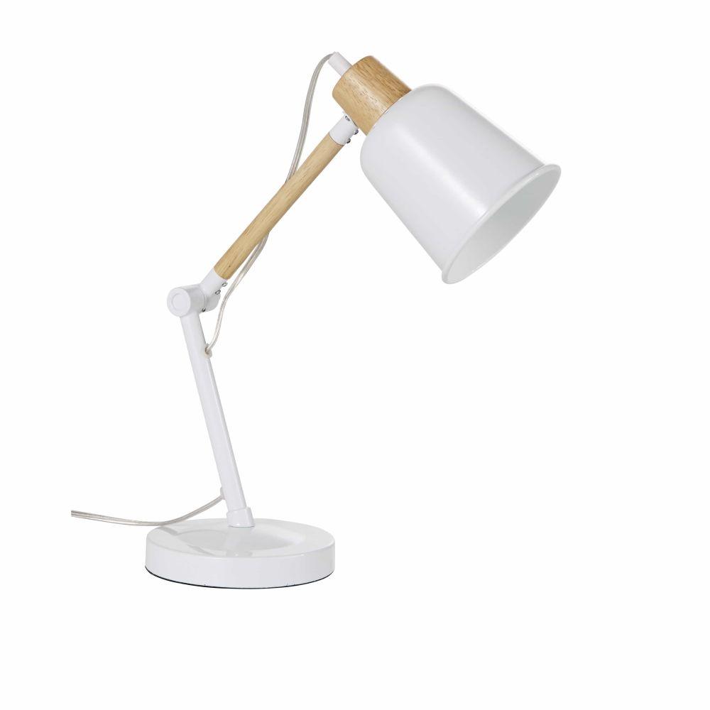 Lampe De Bureau En Métal Blanc Et Hévéa