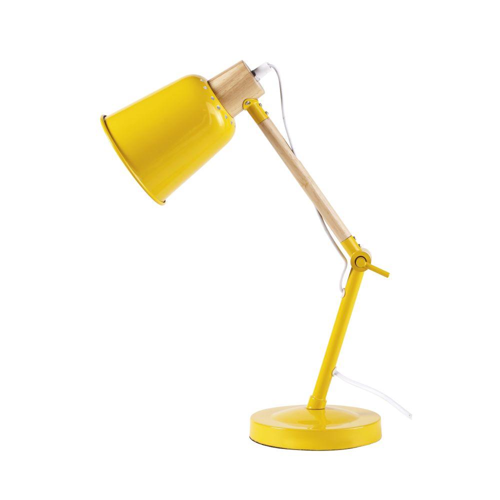 Lampe de bureau en métal jaune et hévéa