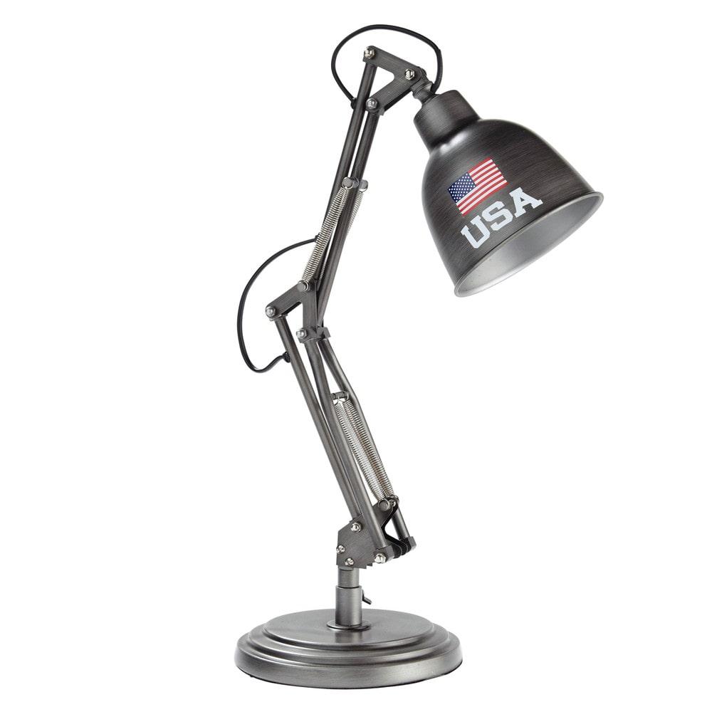 Lampe de bureau indus en métal gris