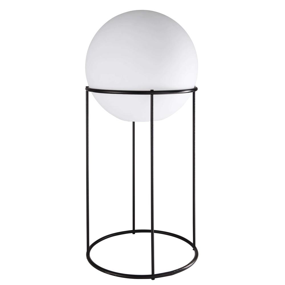 Lampe de jardin en métal noir et sphère blanche H.87cm