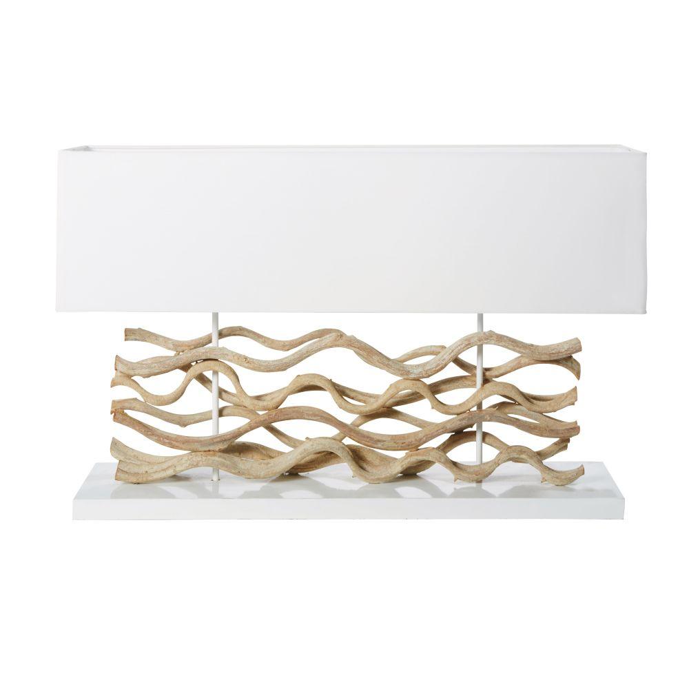 Lampe en bois flotté et abat-jour blanc