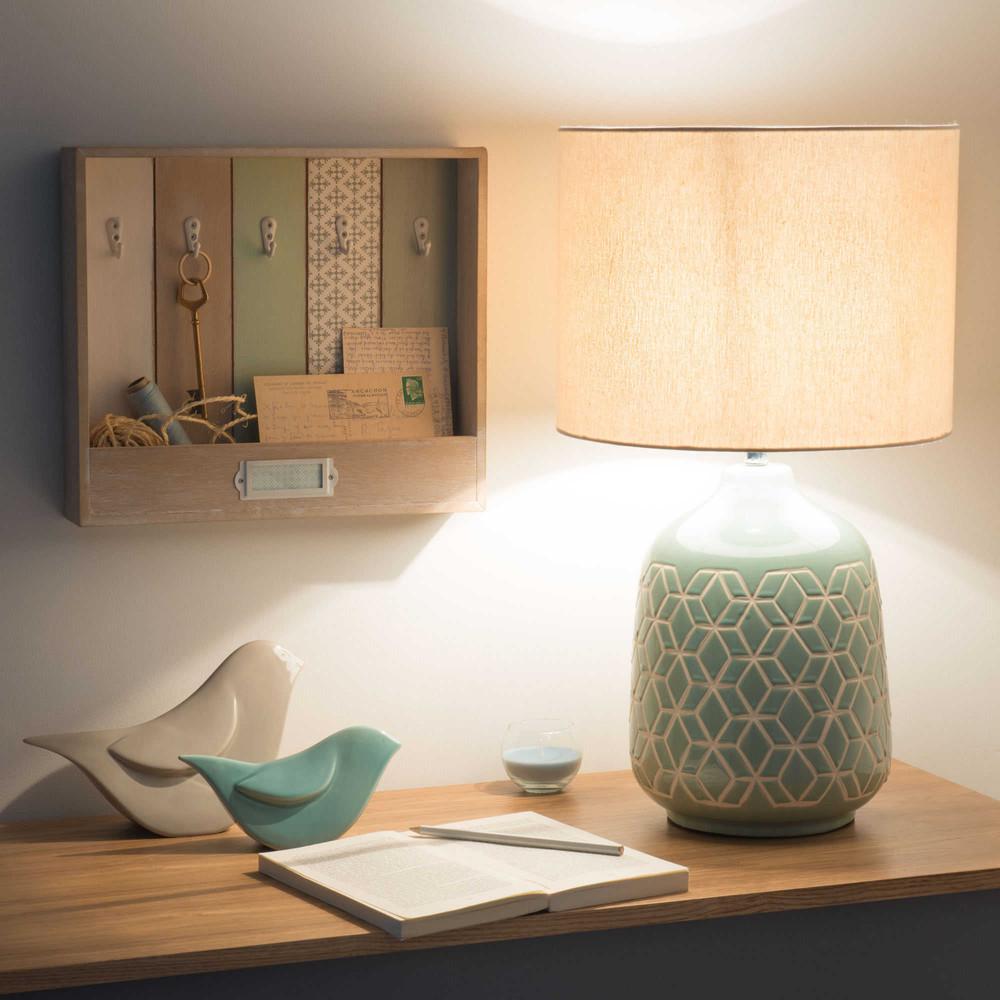 Lampe en céramique bleu clair abat-jour ivoire