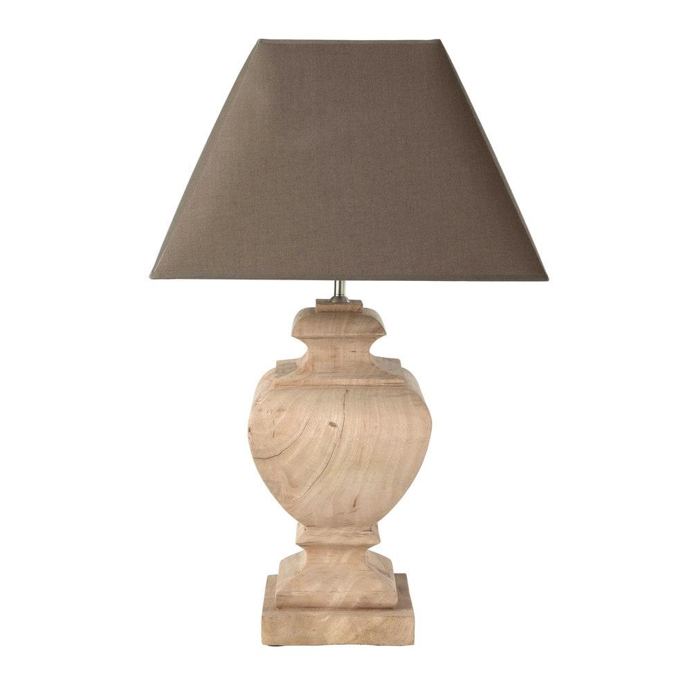 Lampe en manguier et abat-jour en coton taupe H 80 cm