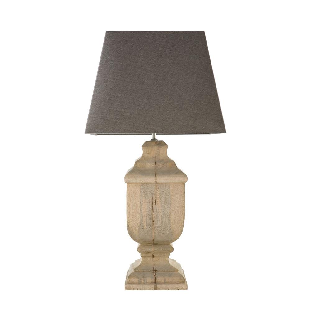 Lampe en manguier et abat-jour gris anthracite