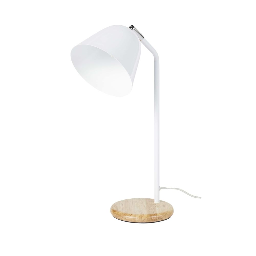Lampe en métal blanc et hévéa