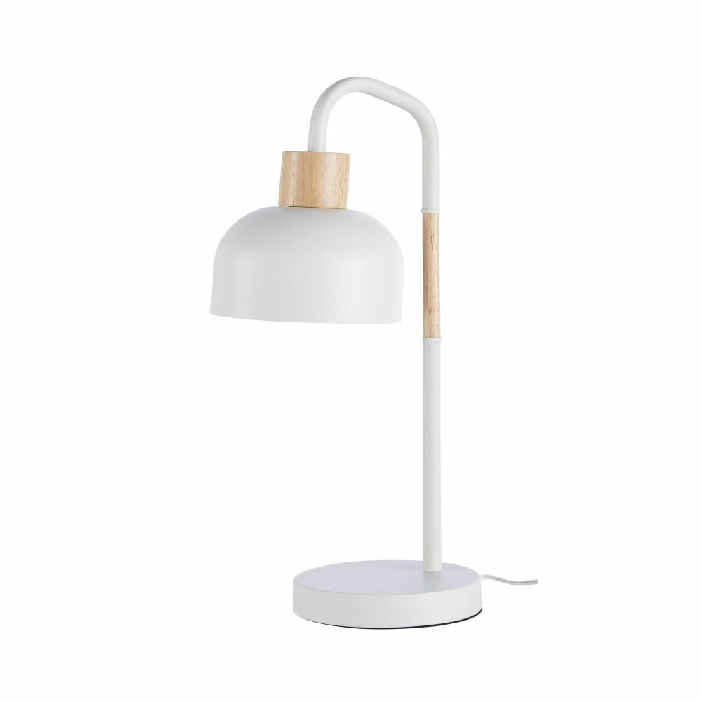 Lampe en métal blanc et hévéa H50