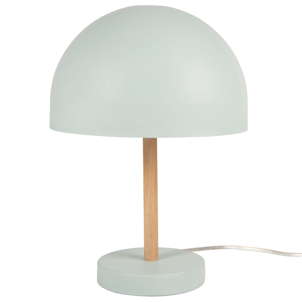 Lampe en métal bleu et chêne