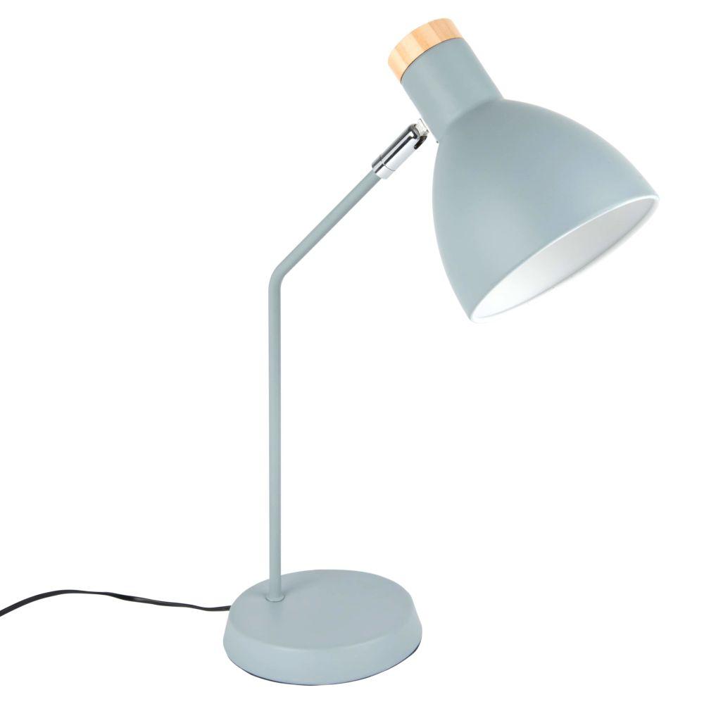 Lampe en métal bleu et pin