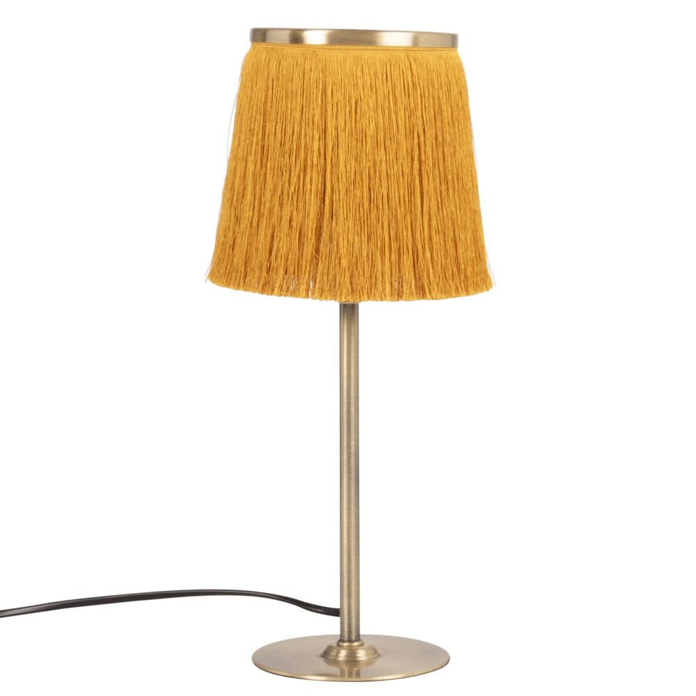 Lampe en métal doré et abat-jour à franges en coton jaune moutarde