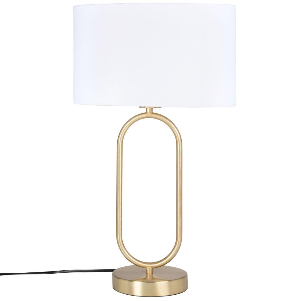 Lampe en métal doré et abat-jour en coton écru