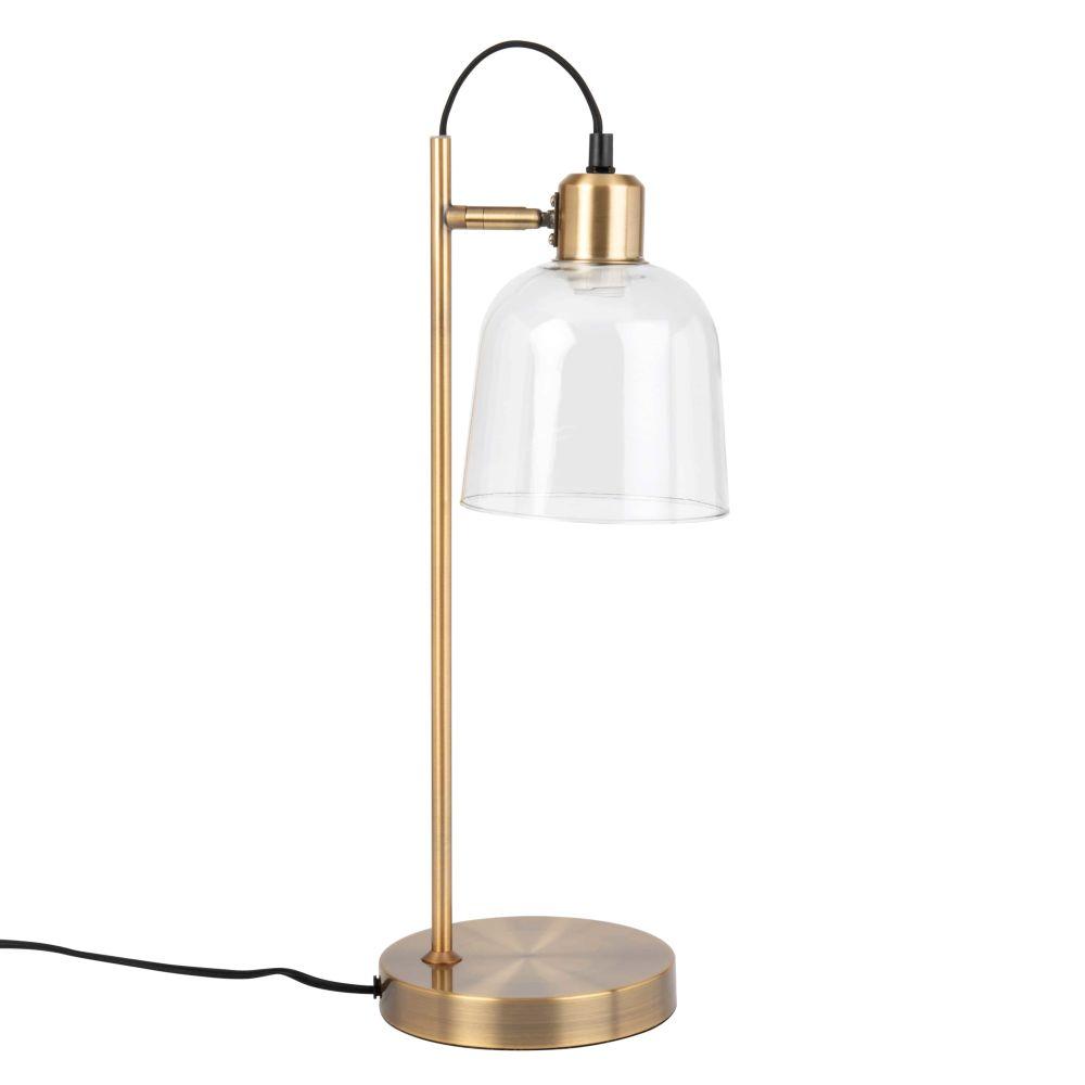 Lampe en métal doré et abat-jour en verre