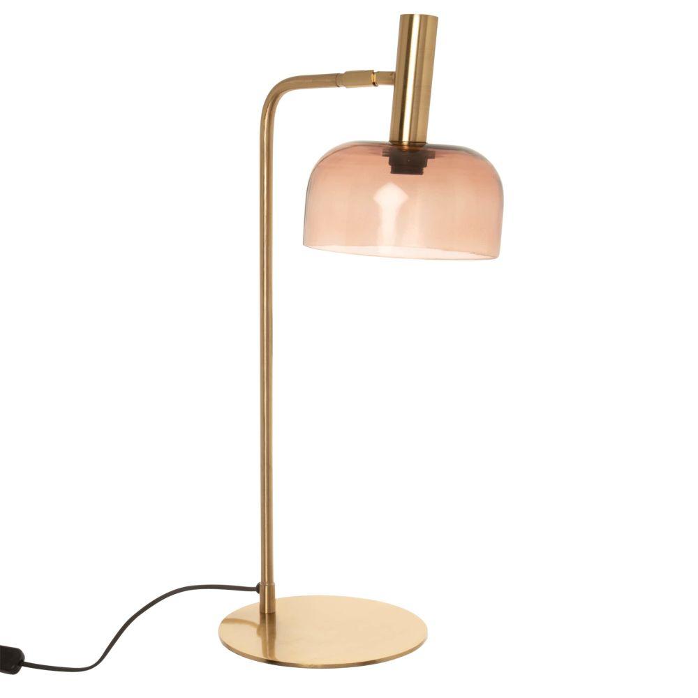 Lampe en métal doré et abat-jour en verre teinté rose