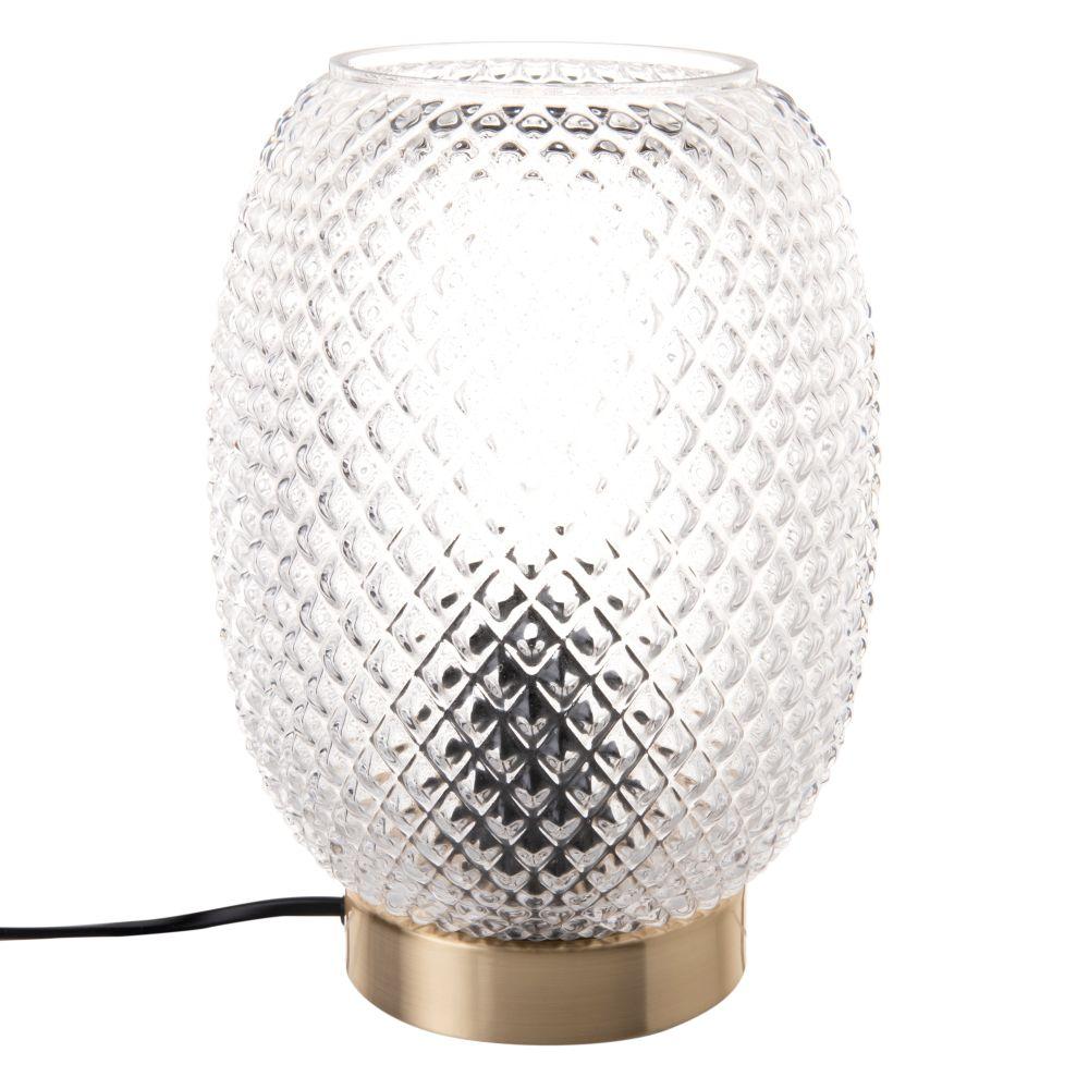 Lampe en métal doré et verre