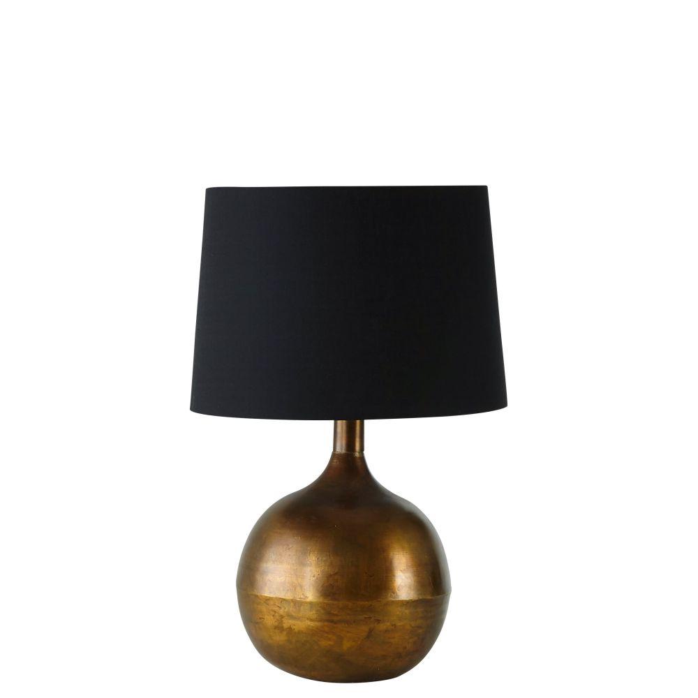Lampe en métal doré patiné et abat-jour noir