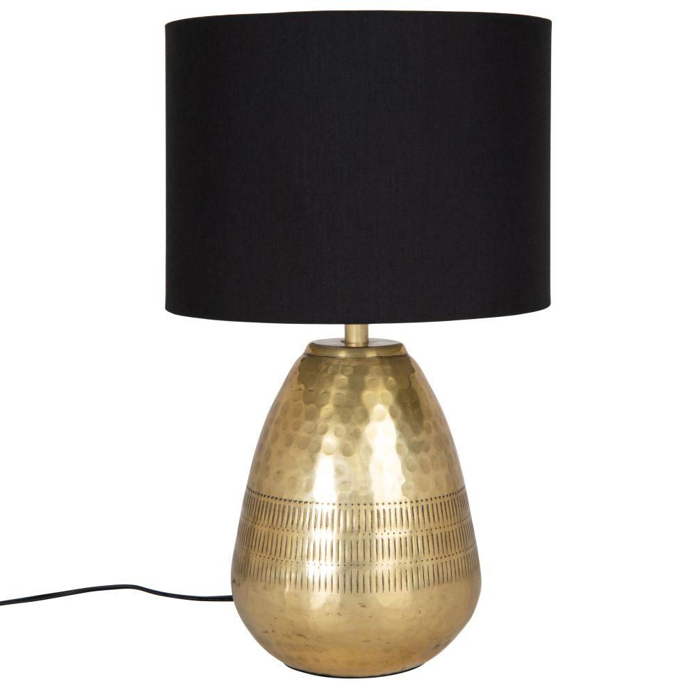 Lampe en métal gravé doré et abat-jour en coton noir