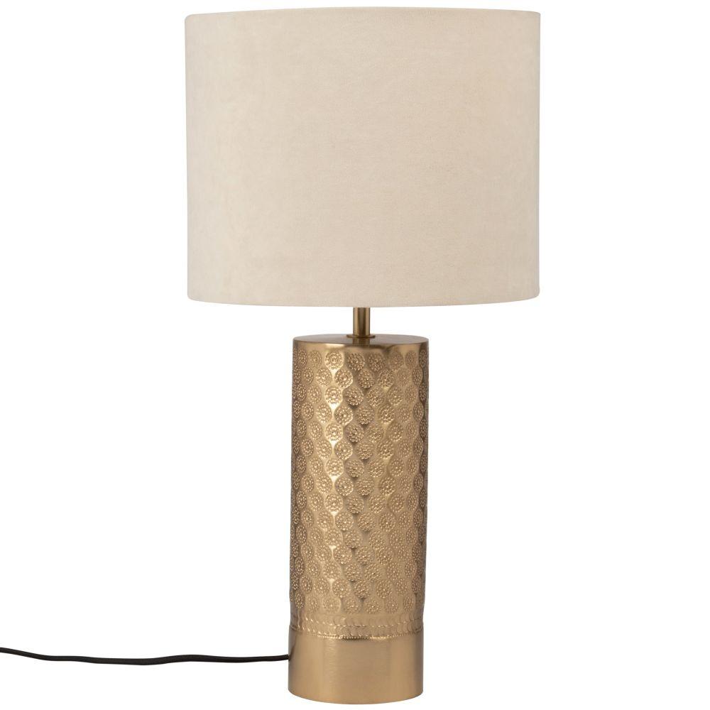 Lampe en métal gravé doré et abat-jour en velours taupe