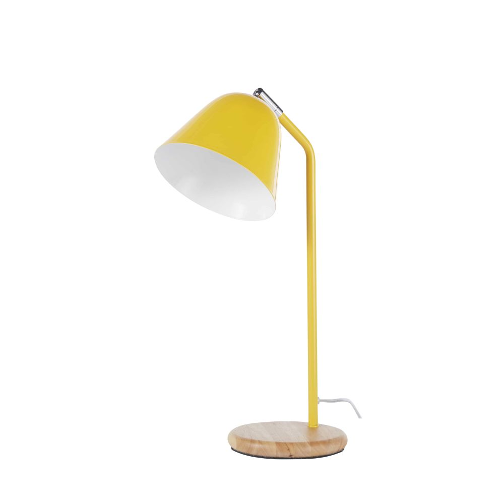 Lampe en métal jaune et hévéa