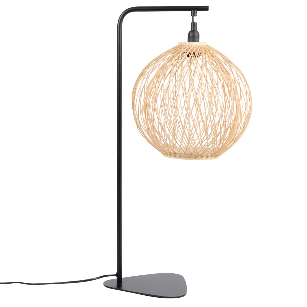 Lampe en métal noir abat-jour rond en bambou