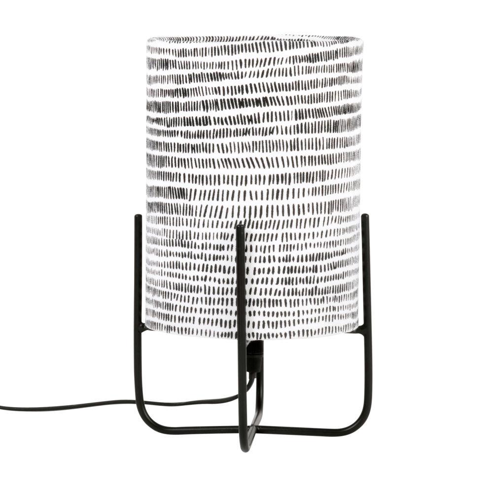 Lampe en métal noir et abat-jour en coton imprimé rayures noires