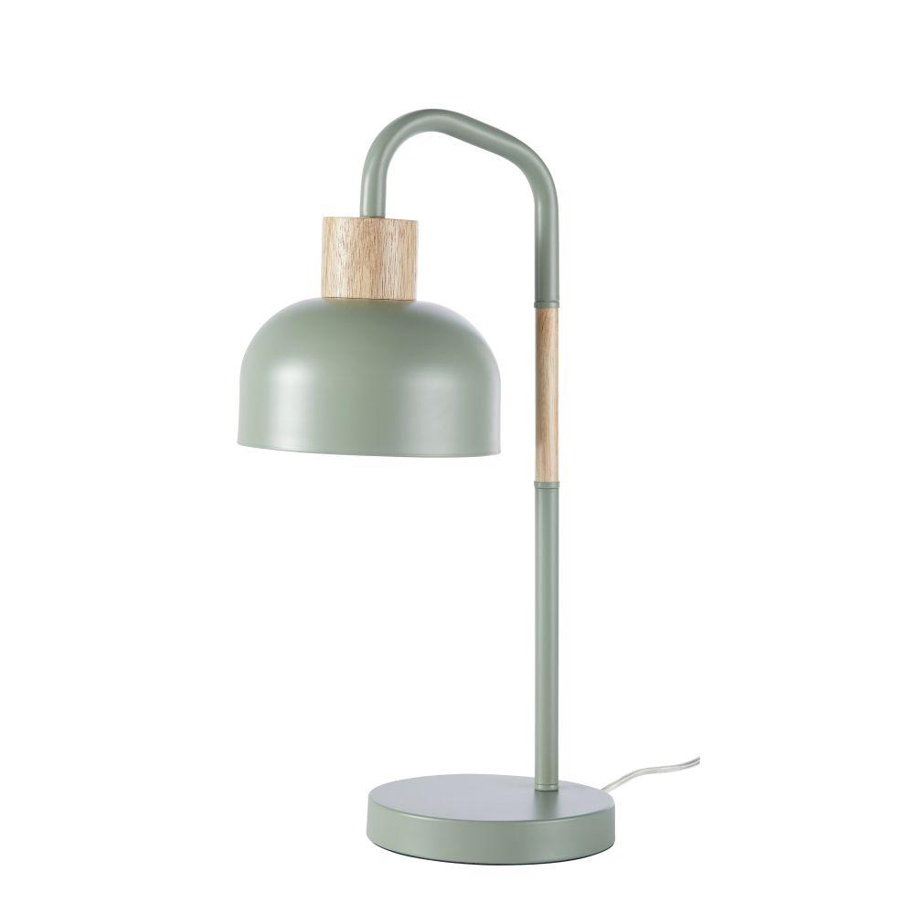Lampe en métal vert kaki et hévéa