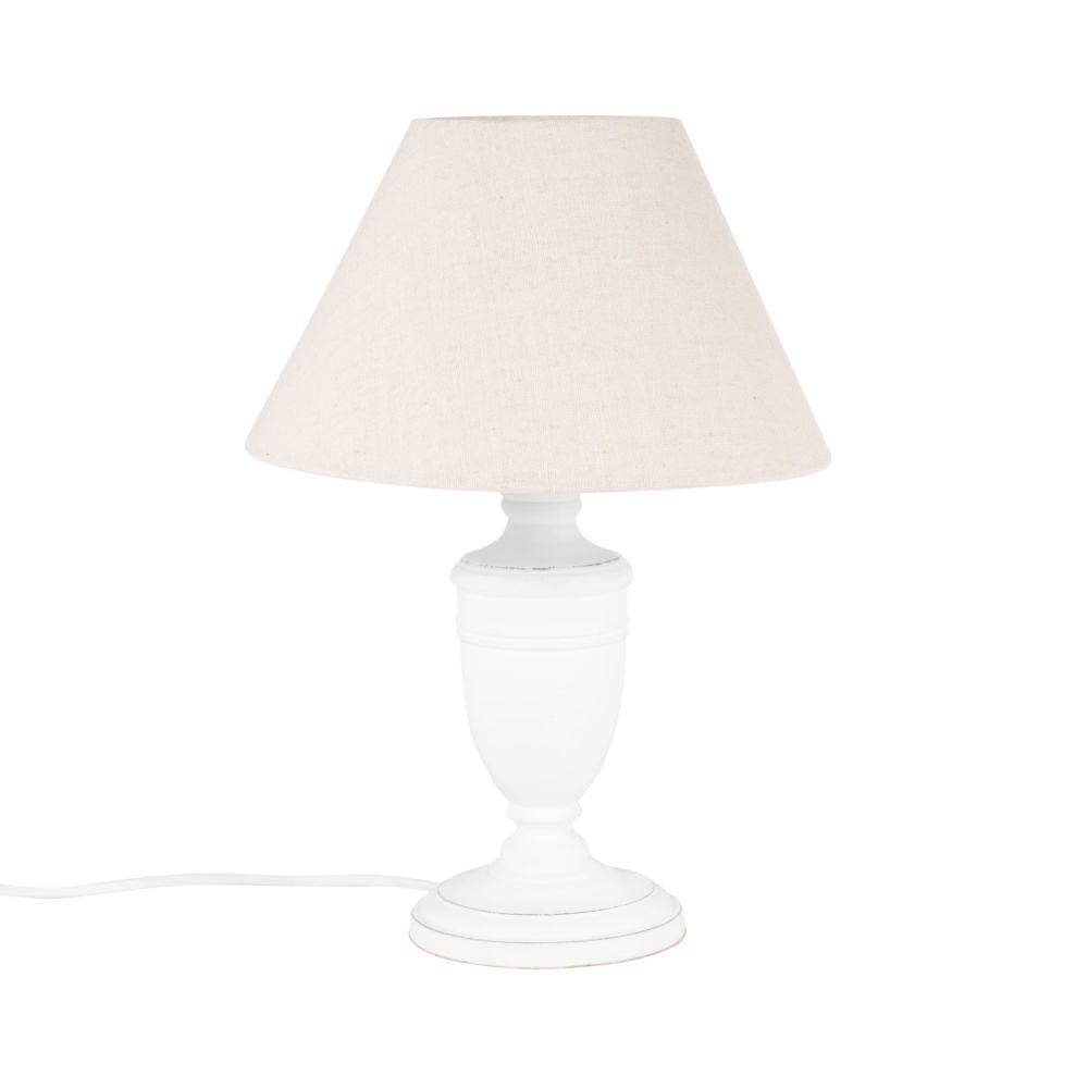 Lampe en paulownia blanc et abat-jour beige