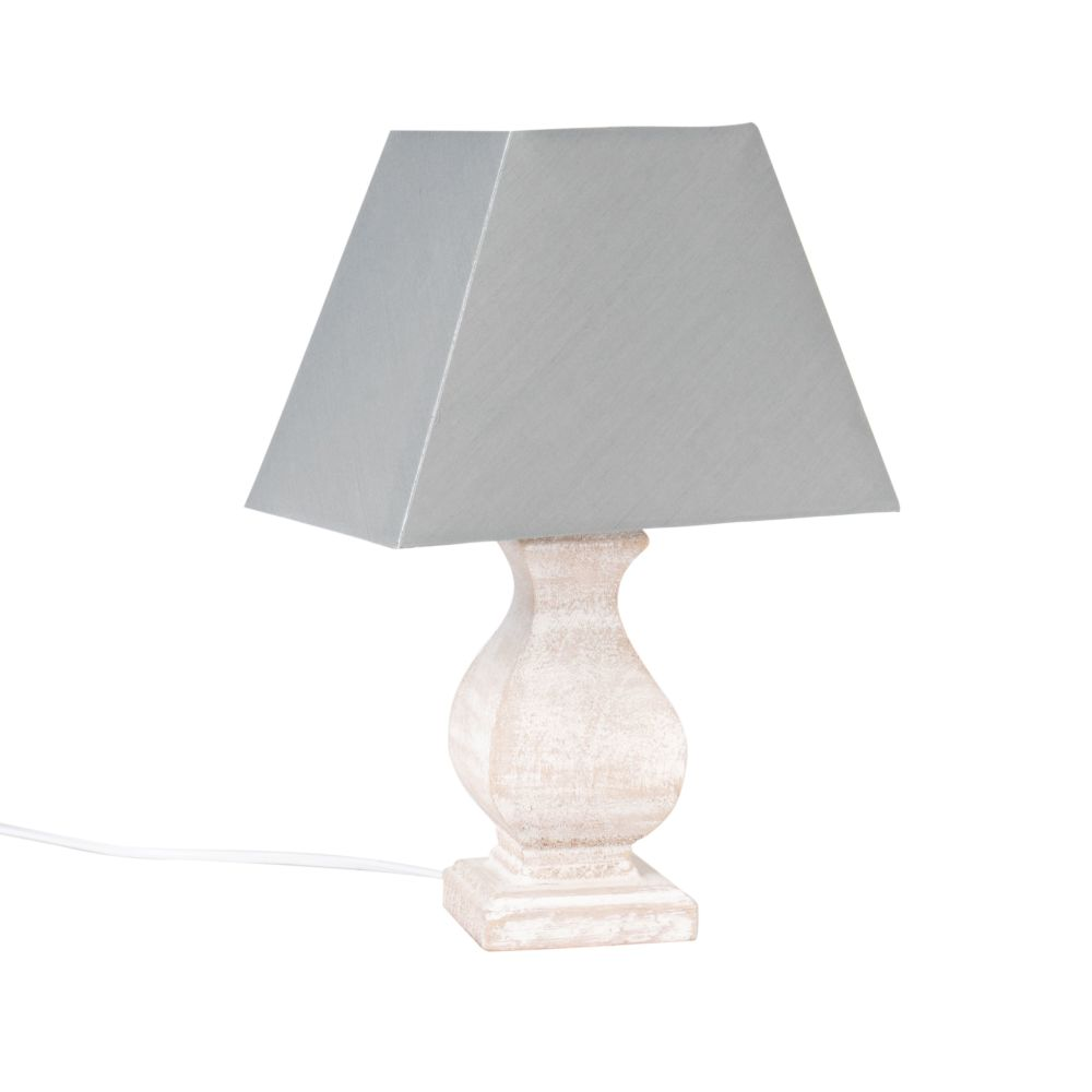 Lampe en paulownia et abat-jour bleu gris