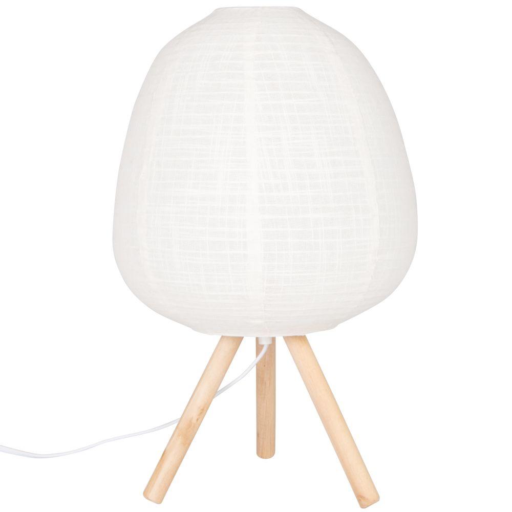 Lampe en pin et abat-jour en coton écru