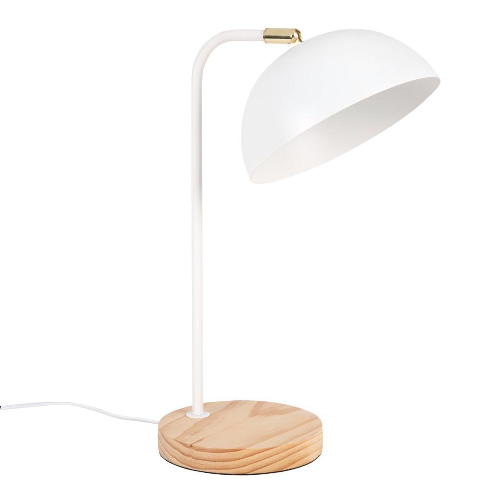 Lampe en pin et métal blanc
