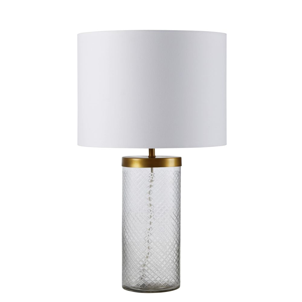Lampe en verre ciselé métal doré abat-jour blanc