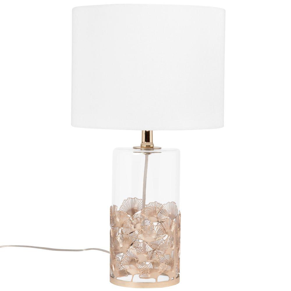 Lampe en verre motifs gingko en métal doré et abat-jour en coton blanc