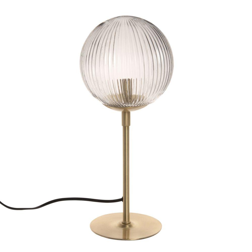 Lampe en verre strié et métal doré