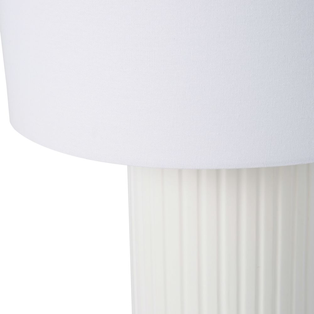 Lampe façon colonne Grecque en céramique blanche